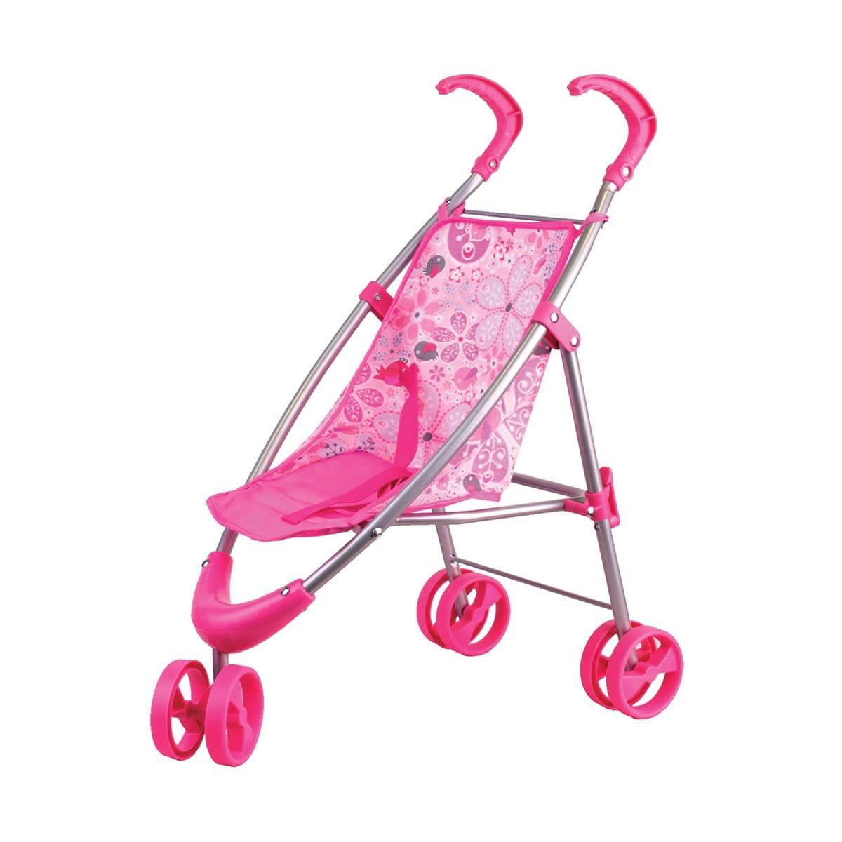Прогулочная коляска для кукол Gulliver 22-12030 с вращающимися колесами - розовая