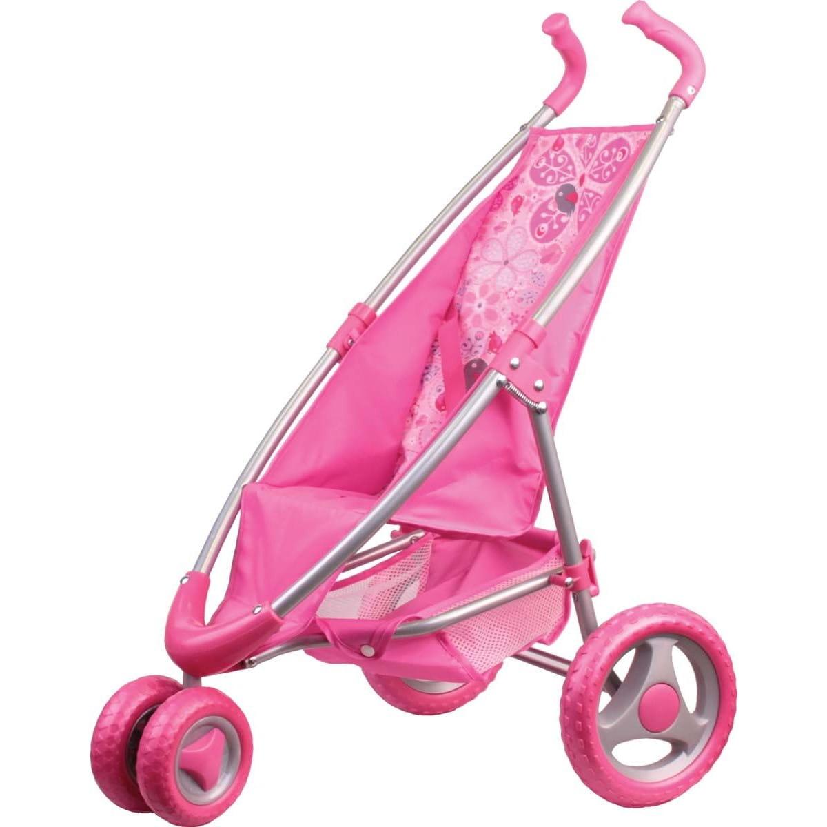 Прогулочная коляска для кукол Gulliver с поворотными колесами - розовая