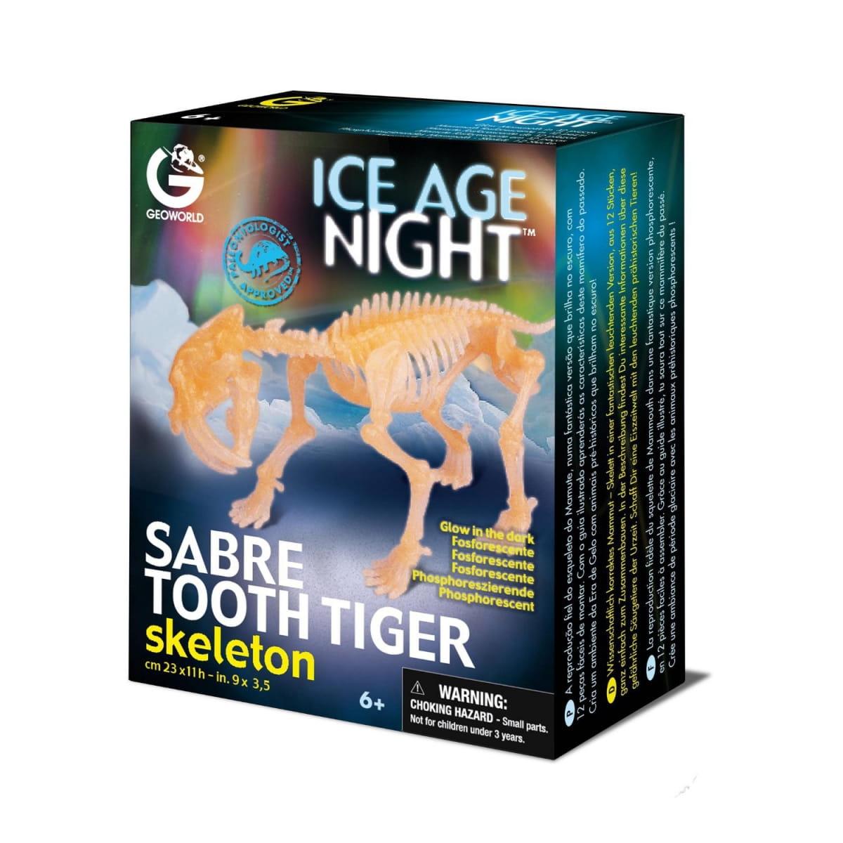 Сборная модель GEOWORLD Скелет саблезубого тигра (светящаяся)