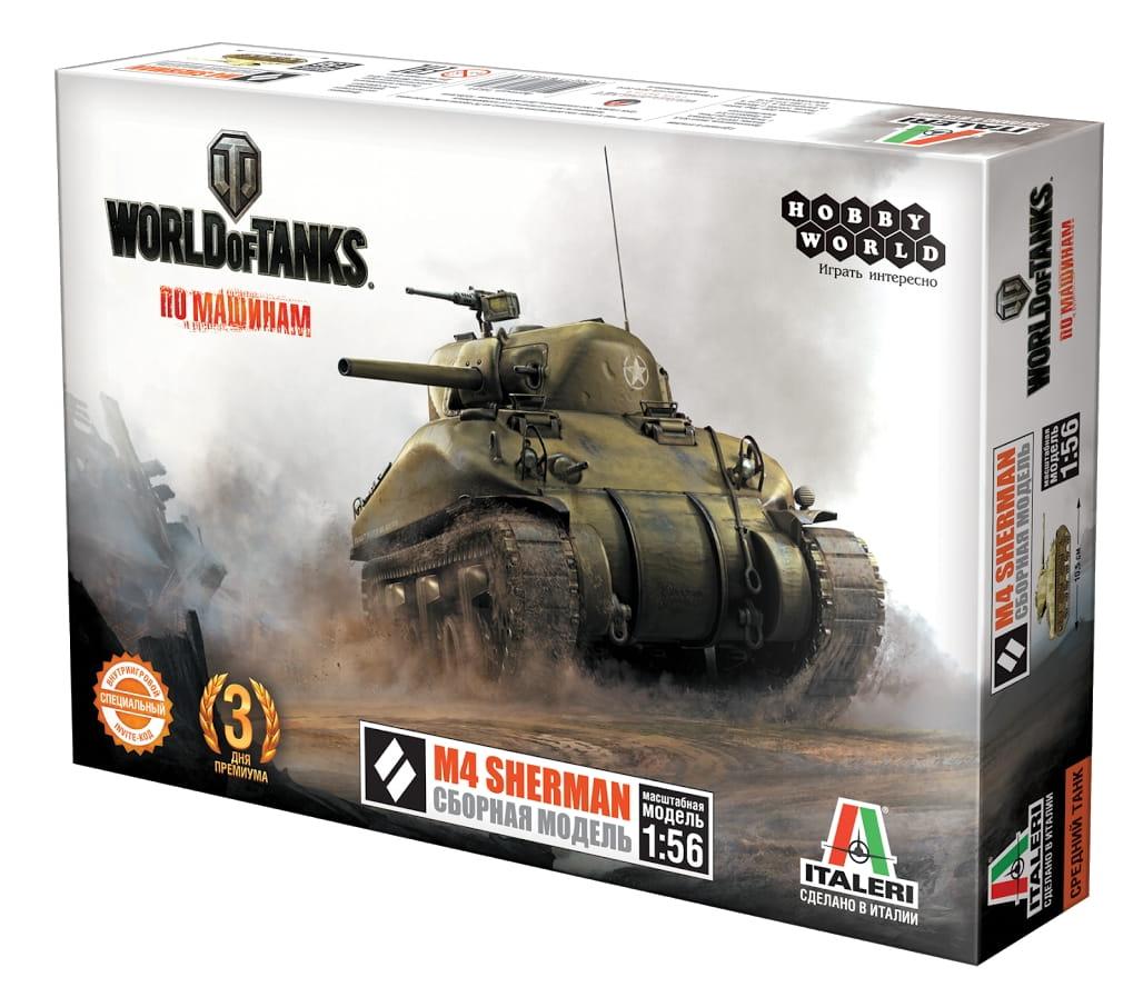Сборная модель HOBBY WORLD World of Tanks M4 Sherman 1:56
