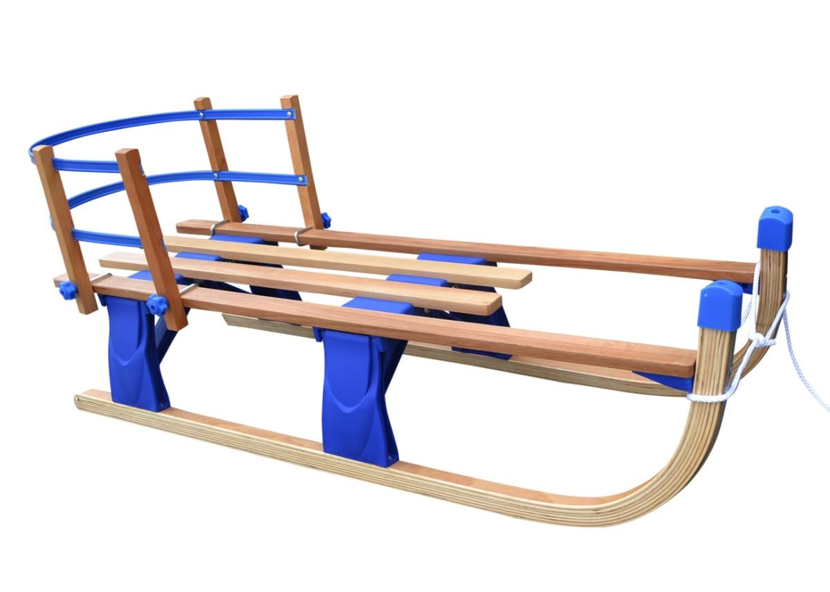Детские складные деревянные санки со съемной спинкой Small Rider Fold Compact  синие - Снегокаты и санки