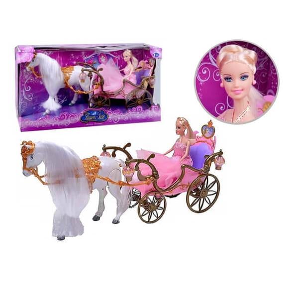 Игровой набор Junfa Toys 209A Принцесса с лошадкой и каретой (со световыми эффектами)