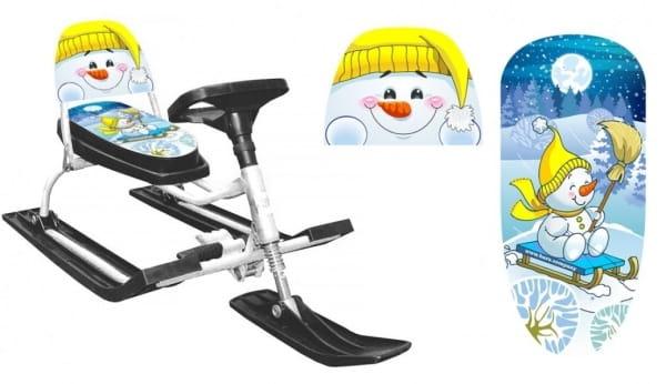 Снегокат со складной спинкой Барс 1187501 Comfort Снеговик 130 (желтый)