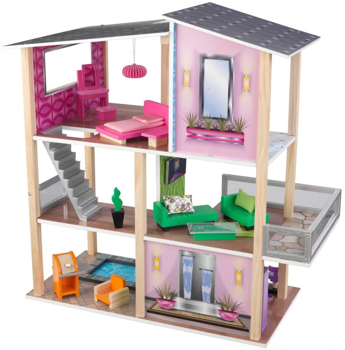 Кукольный домик с мебелью KidKraft Стильный коттедж