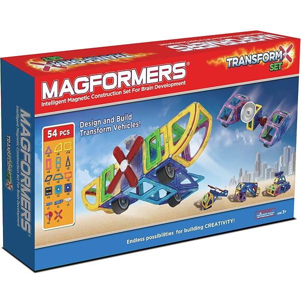 Магнитный конструктор Magformers Transform Set с колесами (54 детали)