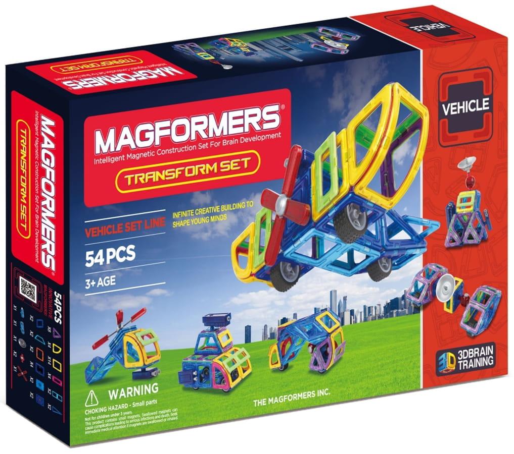 Магнитный конструктор Magformers 707001 (63089) Transform Set с колесами (54 детали)