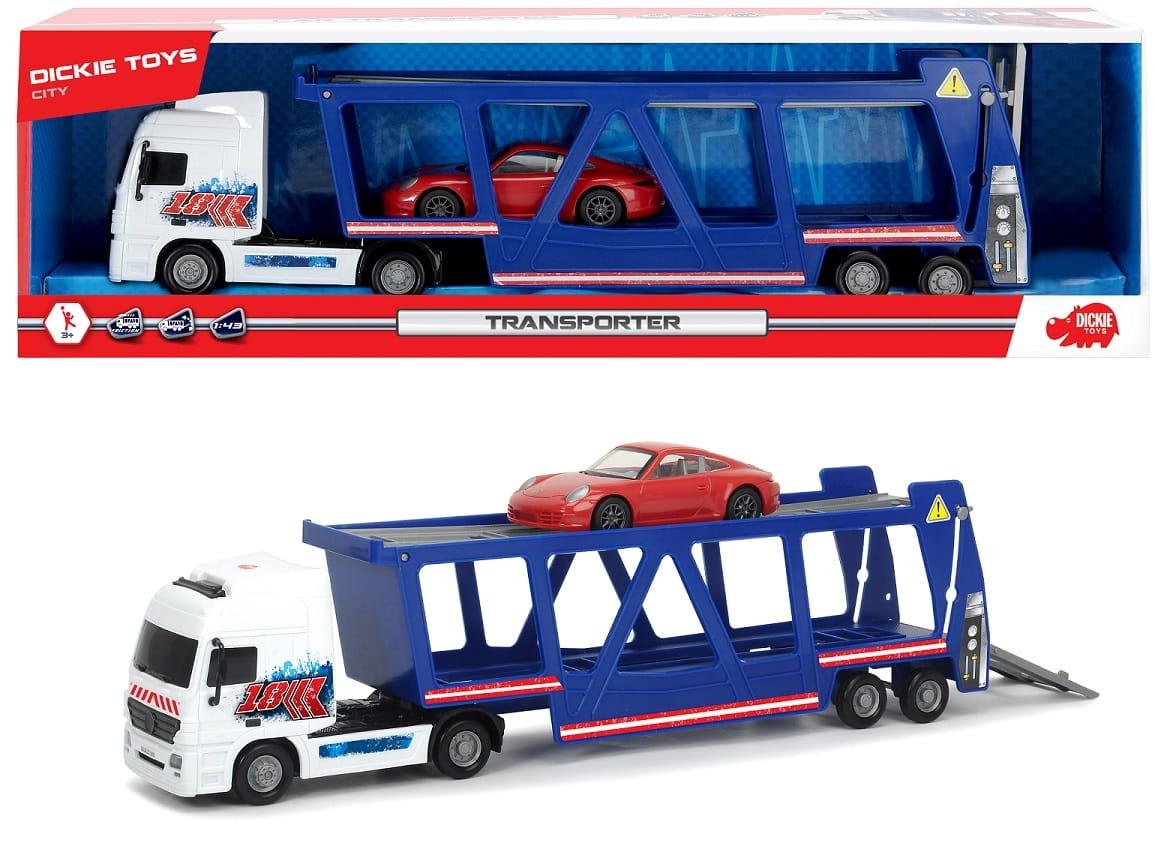 Игровой набор DICKIE Трейлер-автовоз и машинка Porsche - 38 см