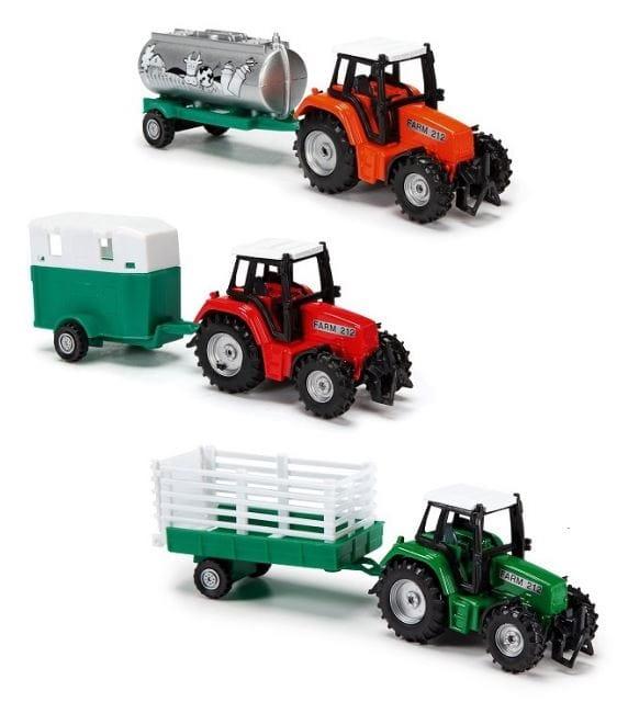 Трактор металлический Dickie с прицепом - 18 см