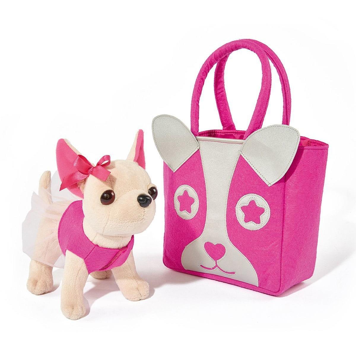 Плюшевая собачка Chi Chi love Чихуахуа с розовой сумкой  20 см (SIMBA) - Игровые наборы для девочек