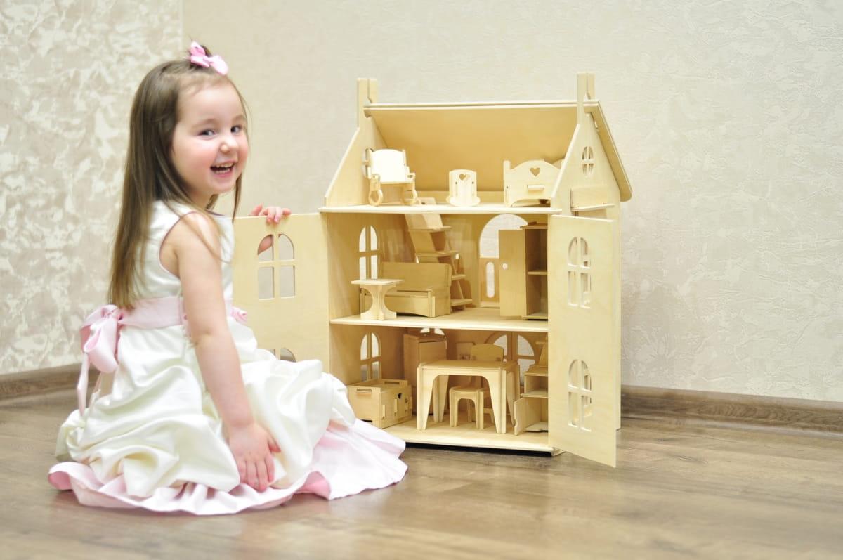 Кукольный домик WOOD LINES Арина с мебелью