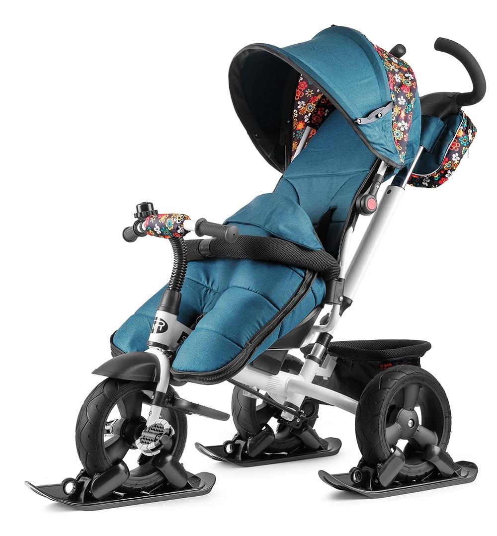 Вездеходный детский велосипед Small Rider Discovery CR Plus с лыжами  зеленый цветочек (с накидкой и дождевиком) - Велосипеды