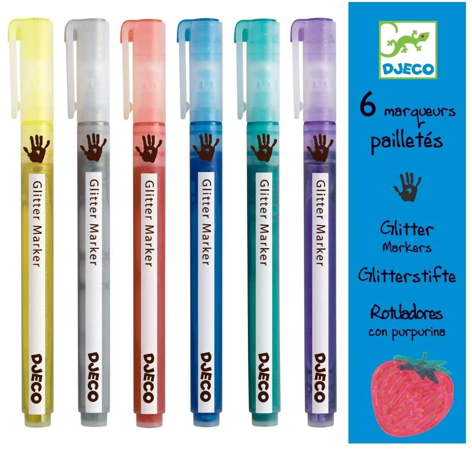 Фломастеры с блестками DJECO - 6 штук