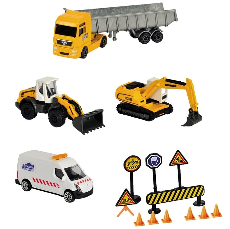 Игровой набор MAJORETTE Строительная техника и дорожные знаки - 13 см и 7,5 см