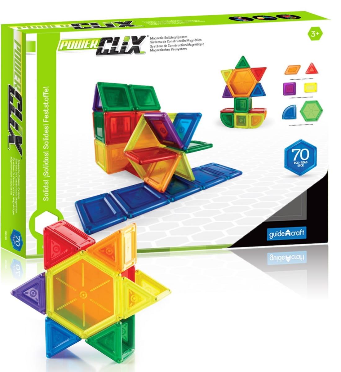 Магнитный конструктор GUIDECRAFT PowerClix Solids - 70 деталей