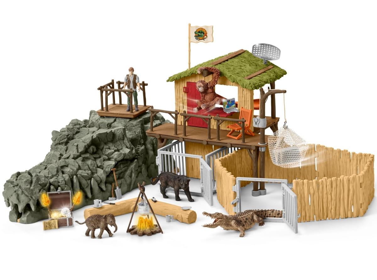 Набор SCHLEICH Исследовательская станция джунглей Croco - Фигурки животных