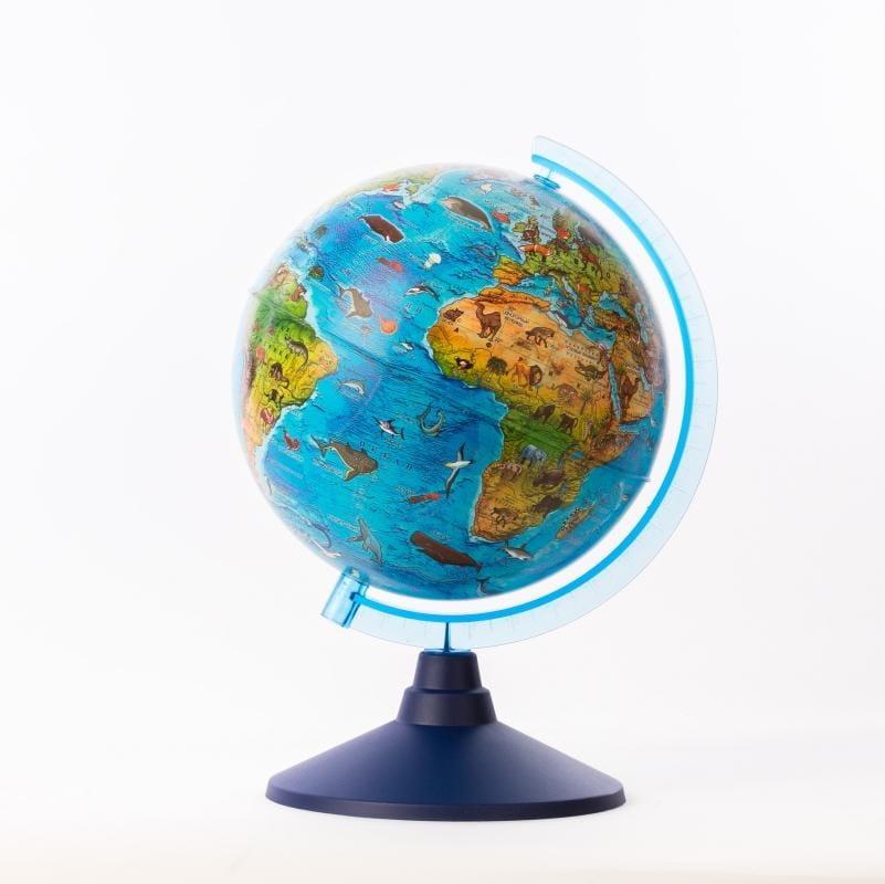 Детский глобус GLOBEN зоогеографический - 21 см (с подсветкой)