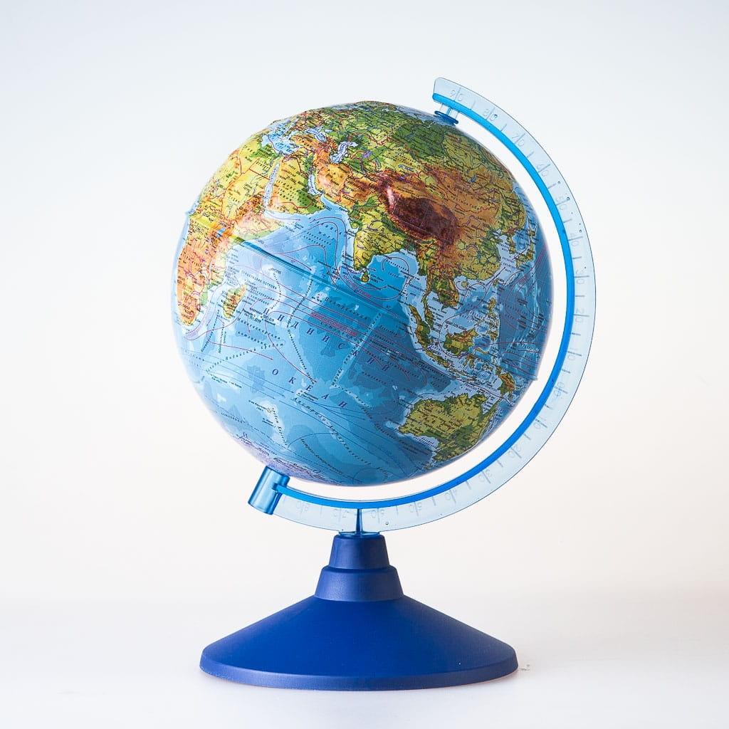 Глобус Земли GLOBEN физико-политический рельефный - 25 см (с подсветкой)