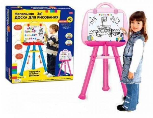 Купить Напольная доска с магнитными русскими буквами и цифрами Edu-Play (97 шт.) - розовая в интернет магазине игрушек и детских товаров