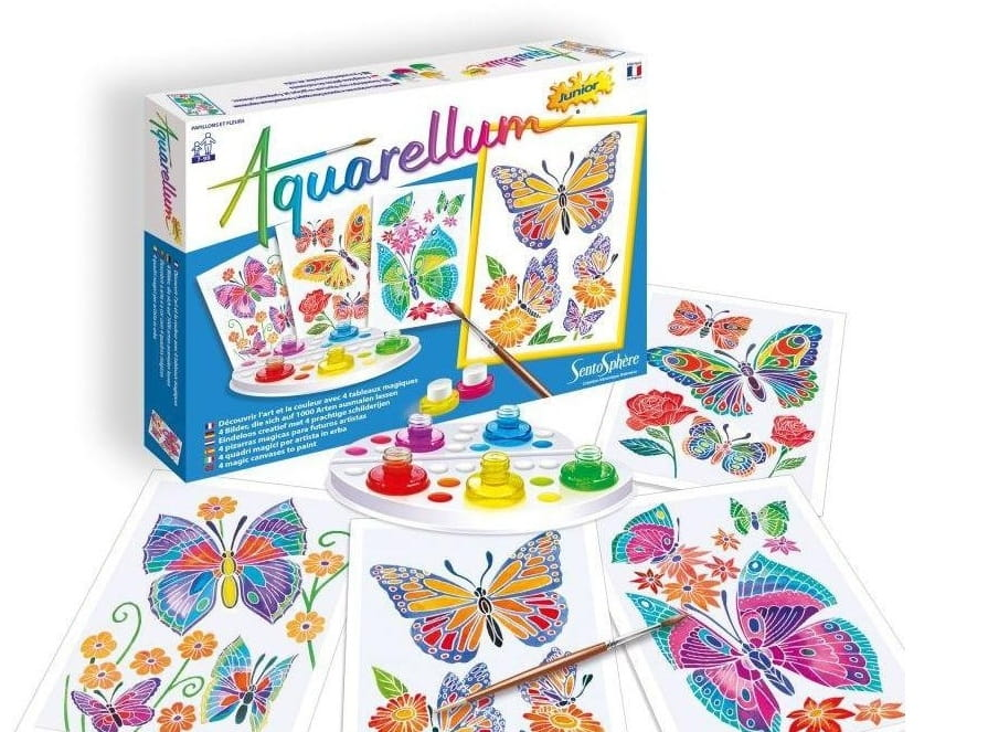 Акварельная раскраска SENTOSPHERE Цветы и бабочки