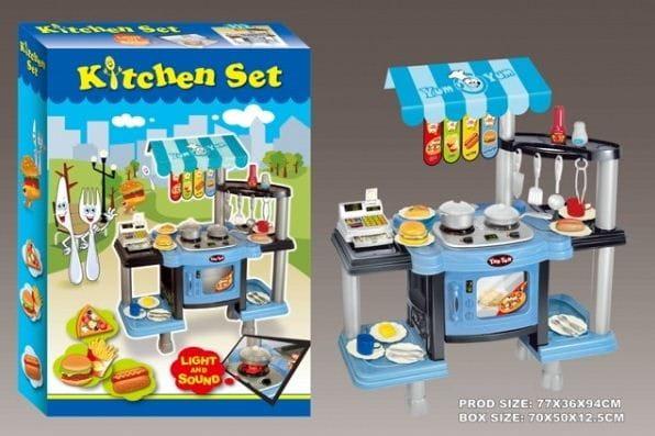 Купить Игровой набор Edu-Play Фаст фуд с кассой - голубой в интернет магазине игрушек и детских товаров