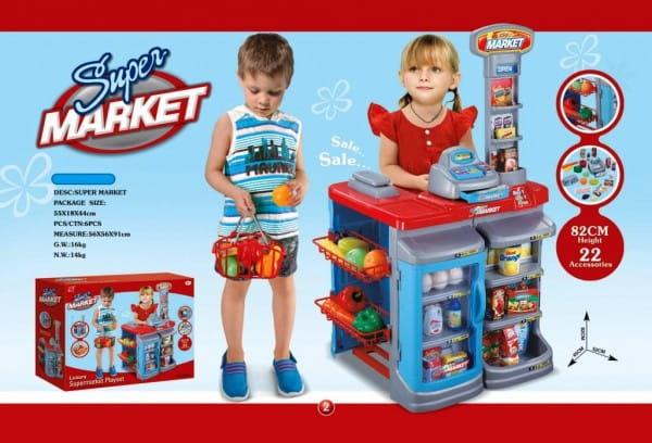 Купить Супермаркет с корзиной Edu-Play - красно-голубой в интернет магазине игрушек и детских товаров