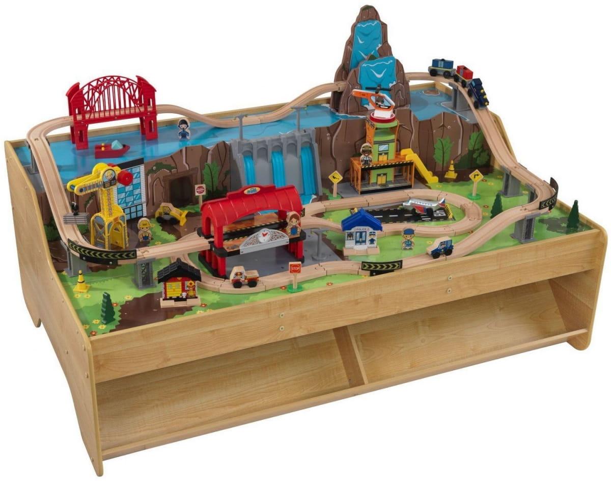 Игровой набор для мальчиков KIDKRAFT Центральная грузовая железнодорожная станция со столом - Железные дороги