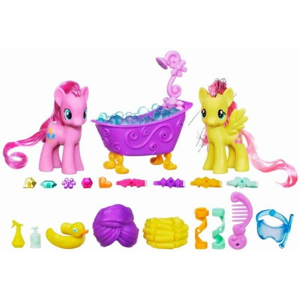Купить Кристальный набор пони My Little Pony Пинки Пай и Флаттершай в ванной (Hasbro) в интернет магазине игрушек и детских товаров