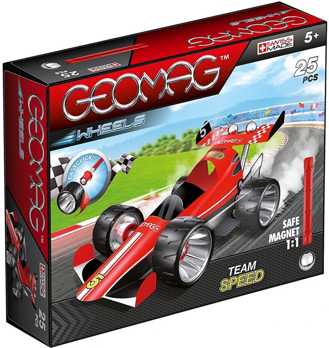 Магнитный конструктор GEOMAG Wheels Гоночная машина  красная - Магнитные конструкторы