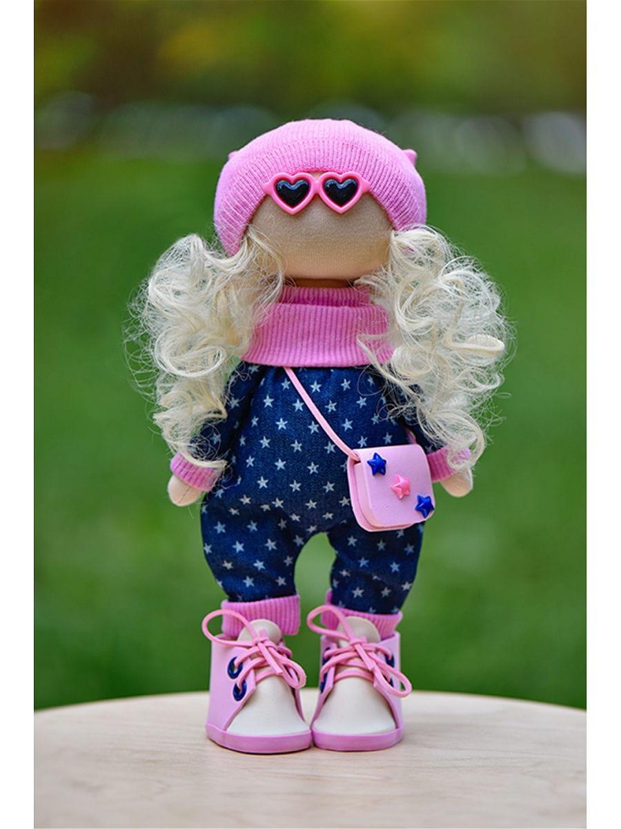 Кукла ручной работы КРАСОТУЛЕНЬКА в синем комбинезоне и очках - Куклы и пупсы