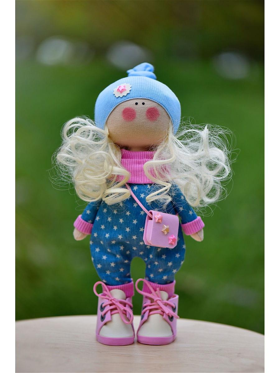 Кукла ручной работы КРАСОТУЛЕНЬКА в синей шапочке - Куклы и пупсы