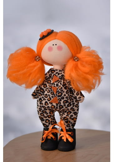 Кукла ручной работы КРАСОТУЛЕНЬКА в леопардовом комбинезоне - Куклы и пупсы