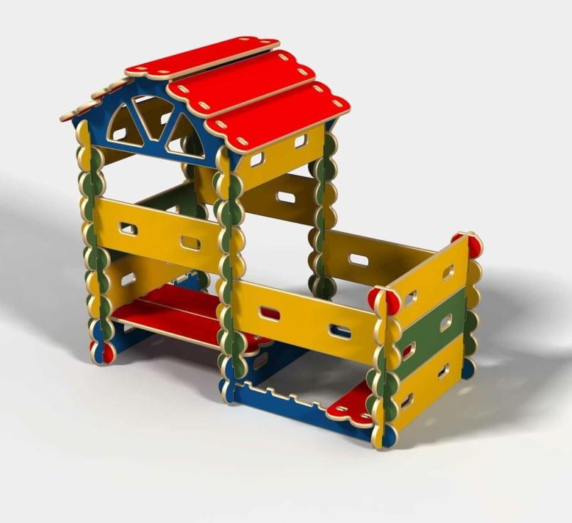 Конструктор-трансформер HOTENOK Архитектор Домик с пристройкой  49 элементов - Деревянные конструкторы