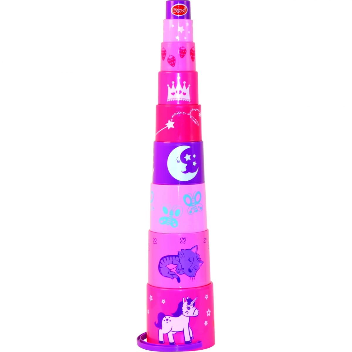 Пирамидка GOWI  9 предметов (розовая) - Развивающие центры и игрушки