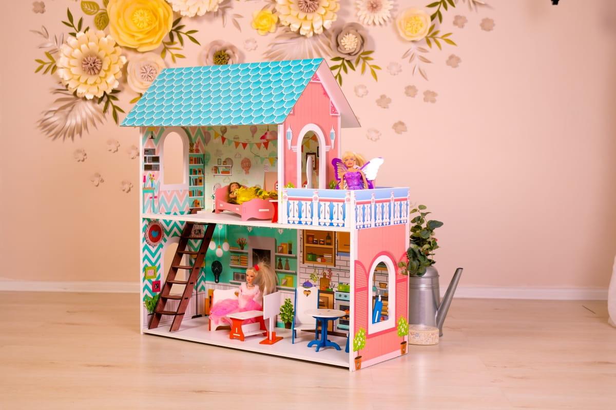 Кукольный домик SUNNYTOY Бирюзовый подарок двухэтажный
