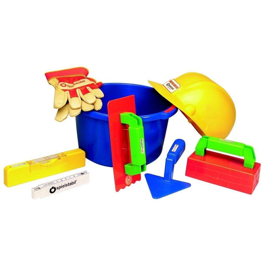 Большой игровой набор маленького строителя SPIELSTABIL для игры в песочнице (с каской) - Игры на природе