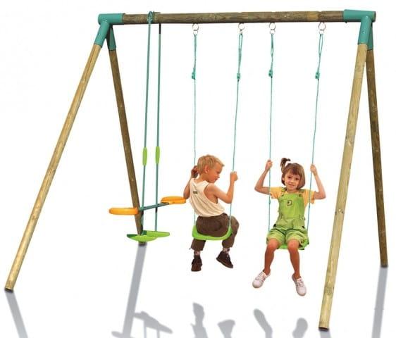 Купить Качели Smoby Деревянные тройные в интернет магазине игрушек и детских товаров