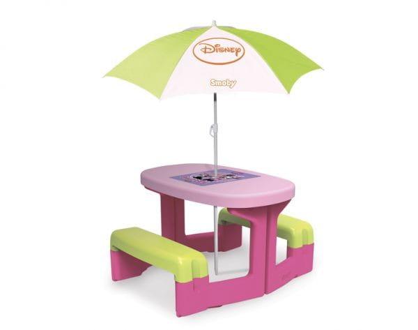 Купить Столик для пикника Smoby Minnie с зонтиком в интернет магазине игрушек и детских товаров