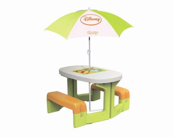 Купить Столик для пикника Smoby Winnie с зонтиком в интернет магазине игрушек и детских товаров