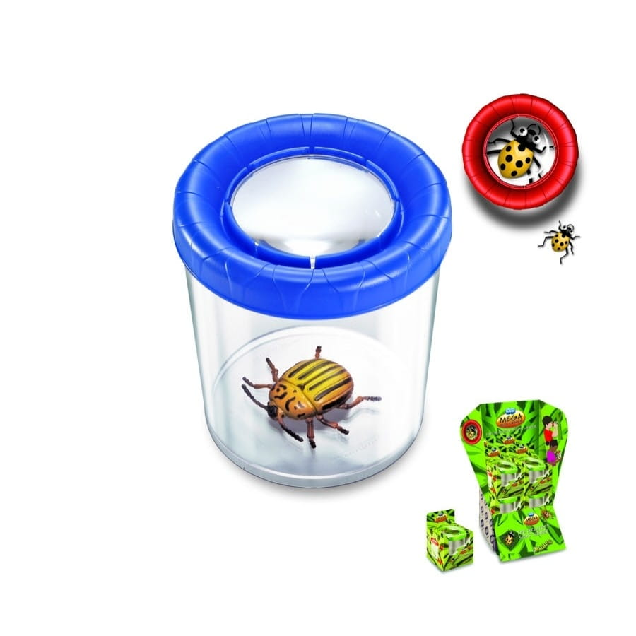 Большая банка для насекомых NAVIR с крышкой и увеличением 3x - голубая