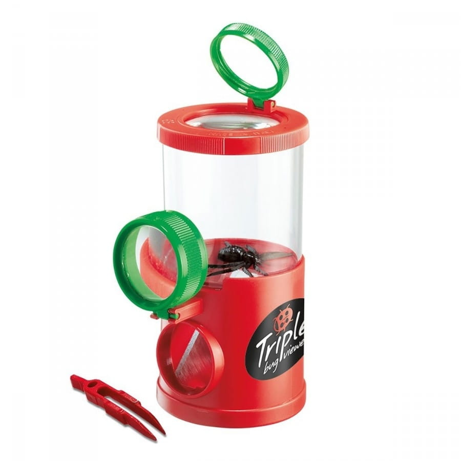 Банка для насекомых NAVIR с пинцетом и жуком - красная