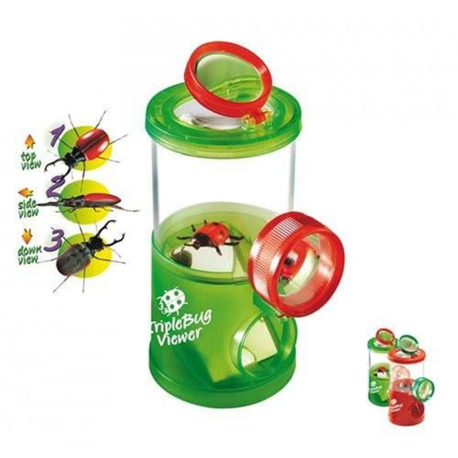 Банка для насекомых NAVIR с пинцетом и жуком - зеленая