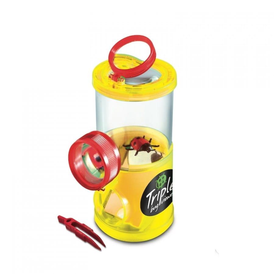 Банка для насекомых NAVIR с пинцетом и жуком - желтая