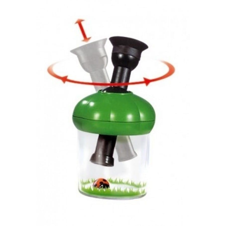 Банка для насекомых NAVIR с микроскопом 10x, пинцетом и жуком - зеленая