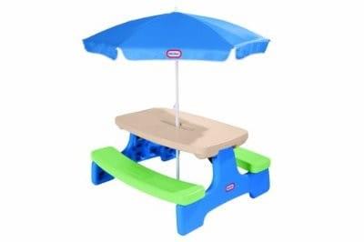 Купить Большой стол Little Tikes с двумя скамейками и зонтом в интернет магазине игрушек и детских товаров