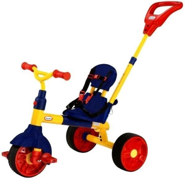Купить Детский трехколесный велосипед Little Tikes 3 в 1 сине-желтый в интернет магазине игрушек и детских товаров