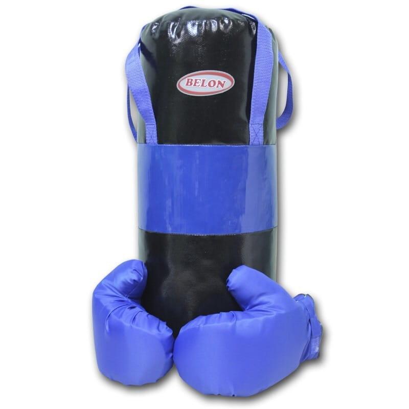 Набор для бокса BELON Груша и перчатки Boom (синий) - Детские тренажеры