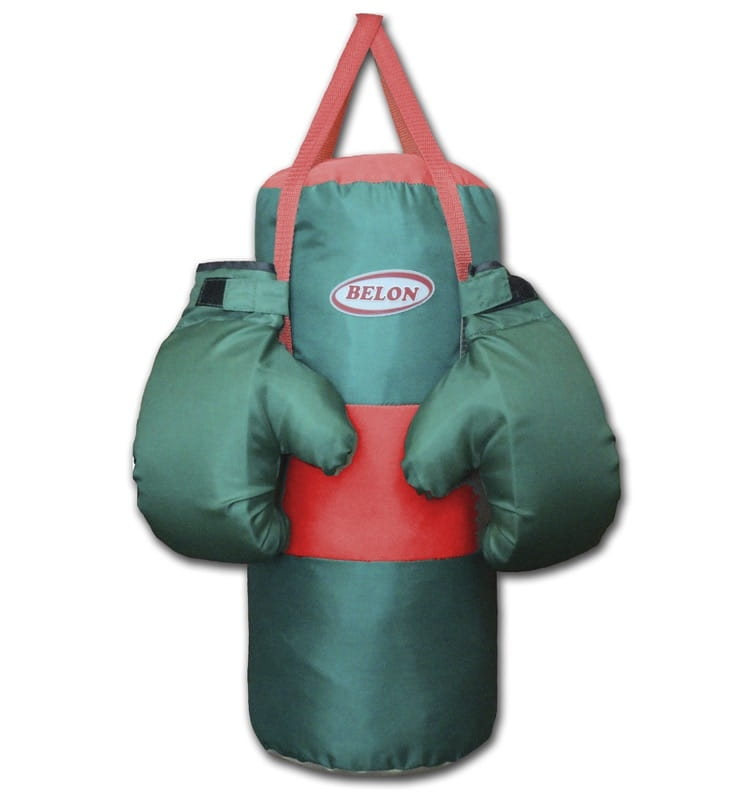 Набор для бокса BELON Груша и перчатки Boom (болотный) - Детские тренажеры
