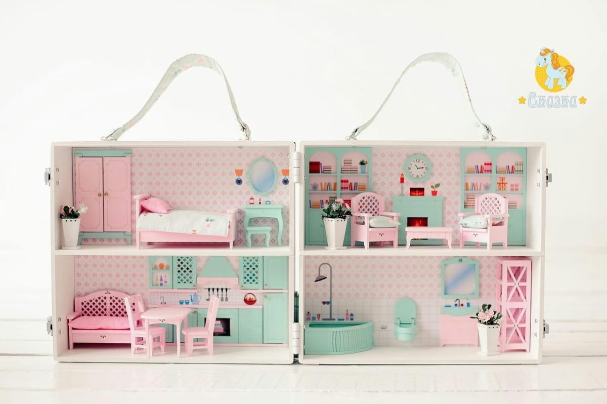 Кукольный домик-чемодан СКАЗКА  бирюзовый - Кукольные домики