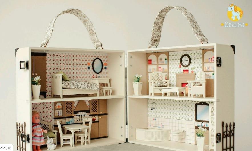 Кукольный домик-чемодан СКАЗКА  бежевый - Кукольные домики