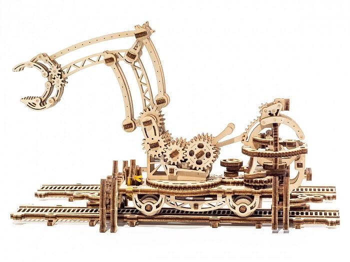 Механический деревянный 3D конструктор UGEARS Манипулятор на рельсах - Деревянные конструкторы